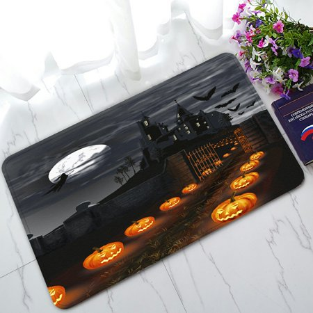 PHFZK Full Moon Doormat, Halloween Wizard Pumpkin Castle Doormat Outdoors/Indoor Doormat Home Floor Mats Rugs Size 30x18 inches (100 Floors Level 15 Halloween)