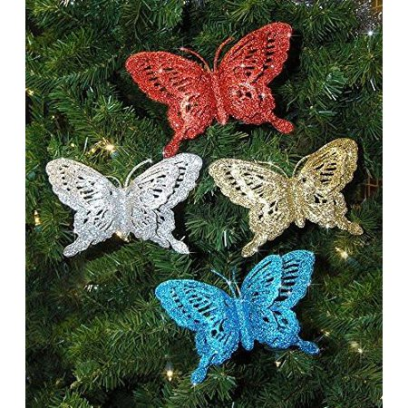 Butterfly Ornaments - Assorted Colors of Blue, Red, Silver and Gold - Butterfly Christmas Decorations~12 - Butterfly Ornaments For Christmas