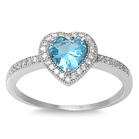 Padparadscha Color Sapphire (CHOOSE YOUR COLOR Blue Simulated Sapphire Polished Heart Love Ring .925 Sterling Silver Band (Blue Simulated Sapphire/Ring Size)