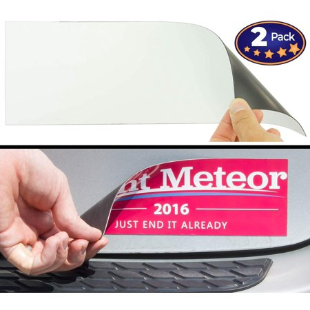 Cut-to-Size Bumper Sticker Magnetizer 2 Pack: Turn Any Decal Into a Strong Magnet. Durable & Weatherproof Magnetic Strip Protects Paint & Allows for Easy Swaps. Flexible 4x12 Sheet Guaranteed to