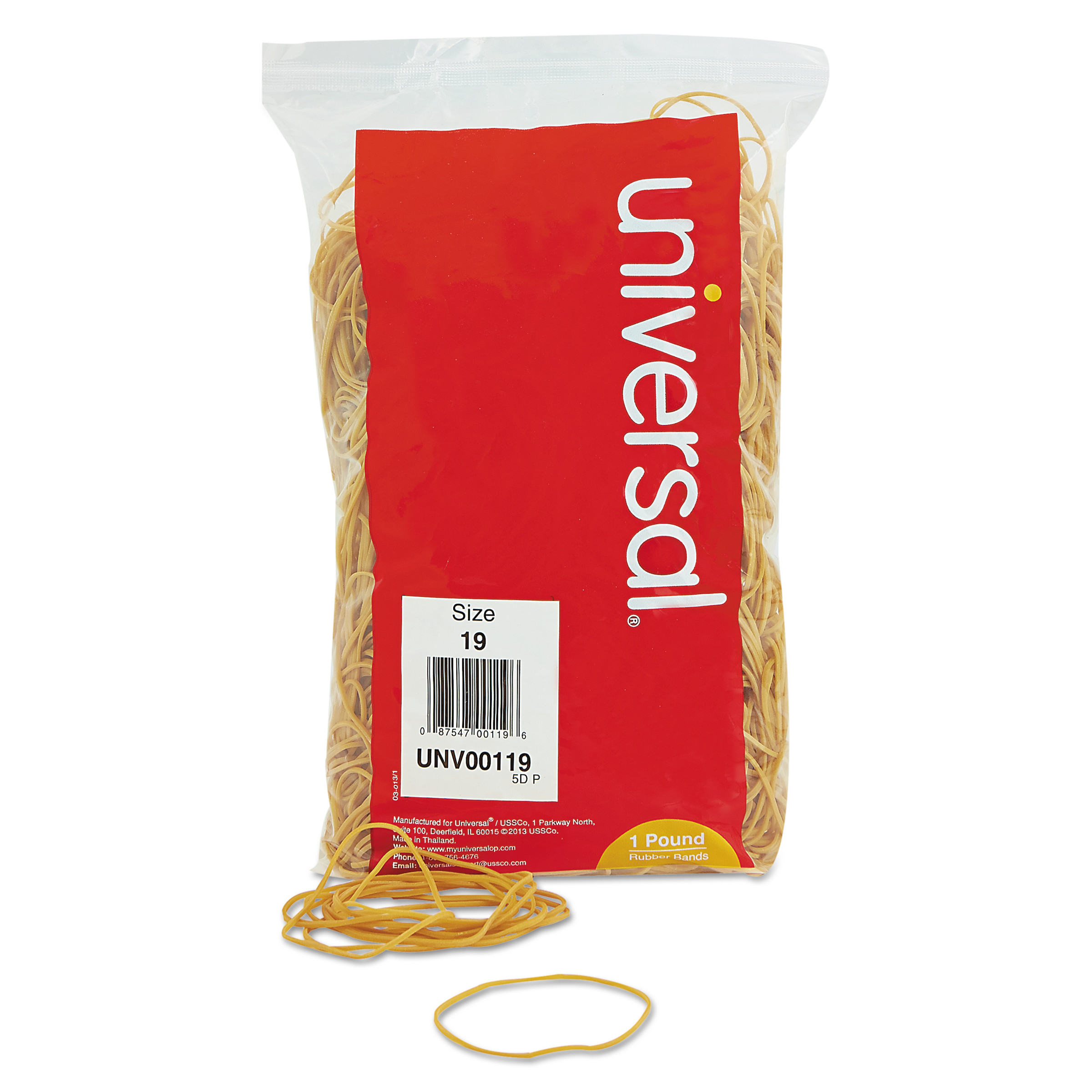 Universal Rubber Bands, Size 19, 3-1/2 x 1/16, 1240 Bands/1lb Pack