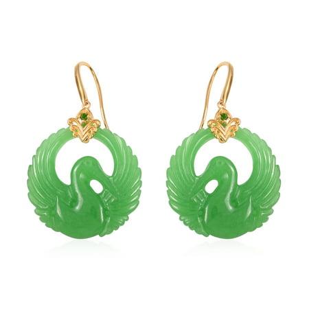 Dangle Drop Earrings 925 Sterling Silver Vermeil Yellow Gold Green Jade Chrome Diopside Gift Jewelry for (22k Vermeil Earrings)