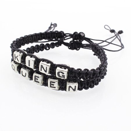 Visland 1 Pair Couple Braided Handmade King And Queen His Hers Charm Bracelet Bangle - image 3 of 7