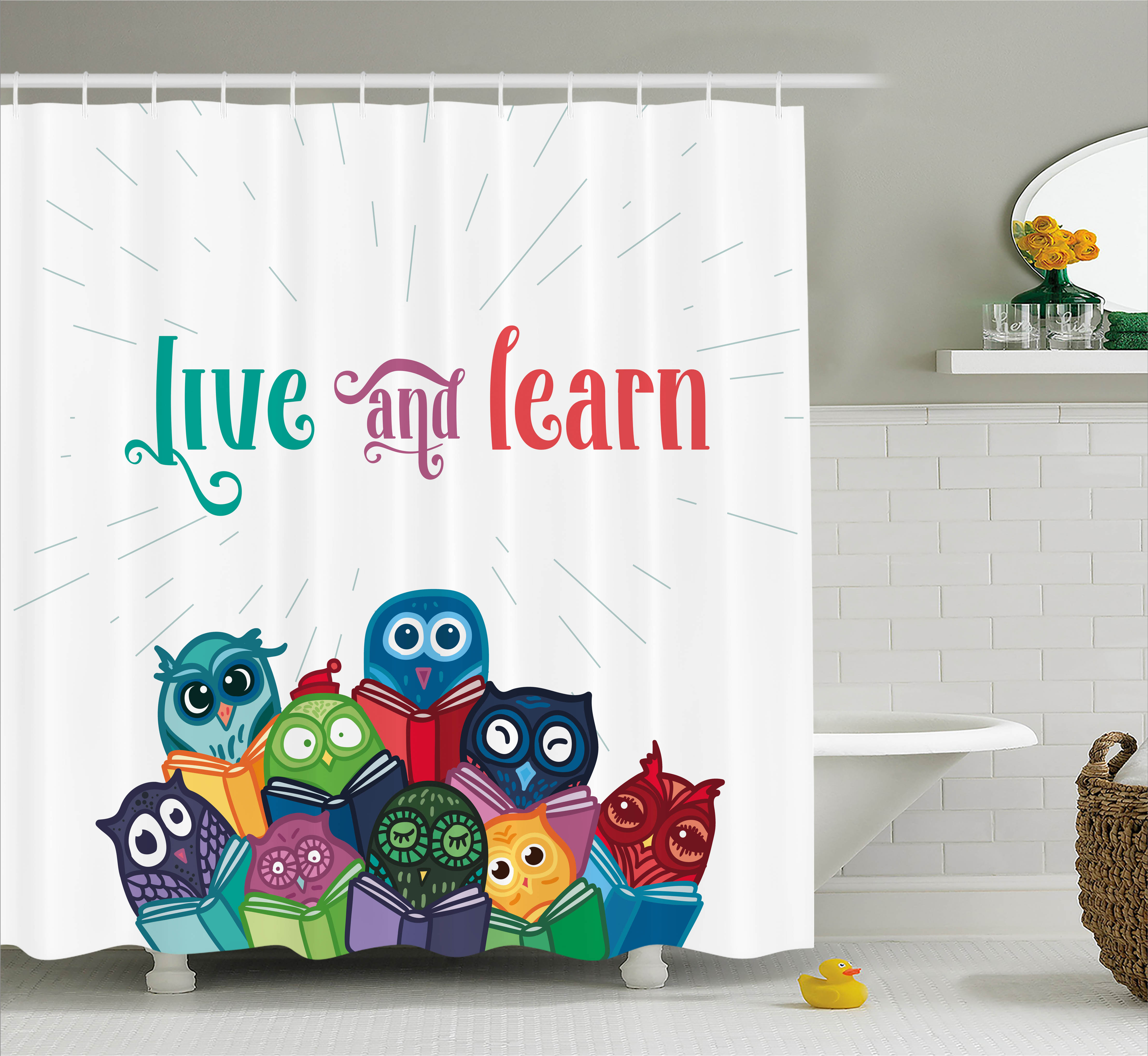 Cartoon Owl Shower Curtain Waterproof Fabric Liner 12 Hooks