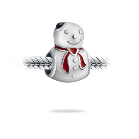 Snowman Holiday Christmas Winter Charm Bead 925 Sterling Silver Fits European Charm Bracelet For Women For Teen - image 1 of 2