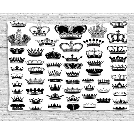 Queen Tapestry, Big Silhouette Crown Set Monarchy Imperial Ruler Icons Antique Ancient Vintage, Wall Hanging for Bedroom Living Room Dorm Decor, 60W X 40L Inches, Black and White, by Ambesonne