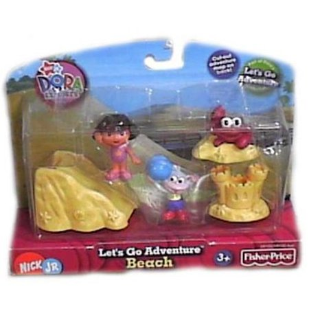- Beach Playset, Includes two figures each and several accessory pieces to go on a Dora adventure By FisherPrice