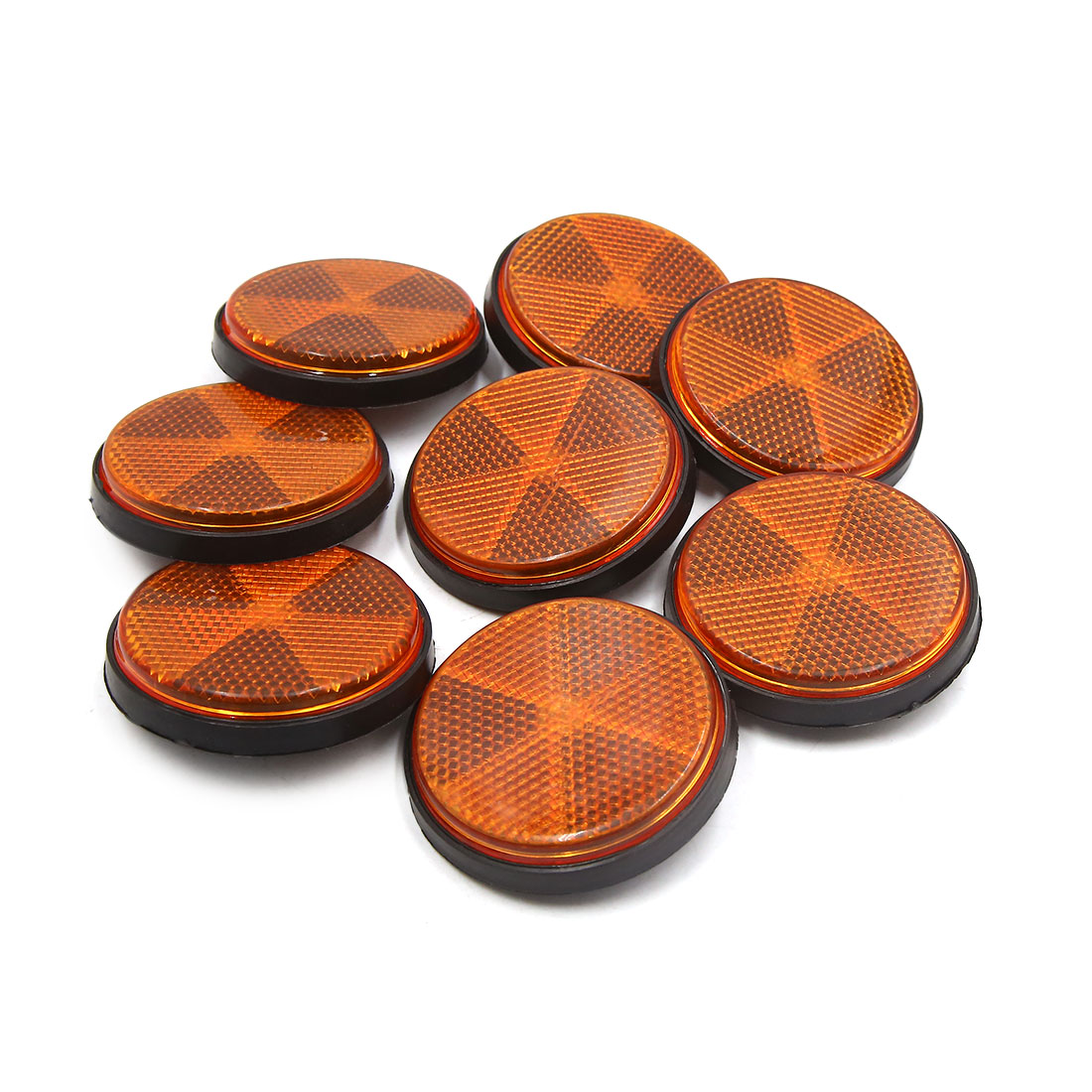 8pcs 6mm Dia Orange Plastic Screw Mount Reflective Motorcycle Warning Reflector