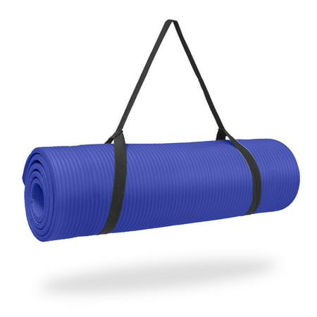 Pure Fitness High Density Exercise Mat, 12 mm, Blue -