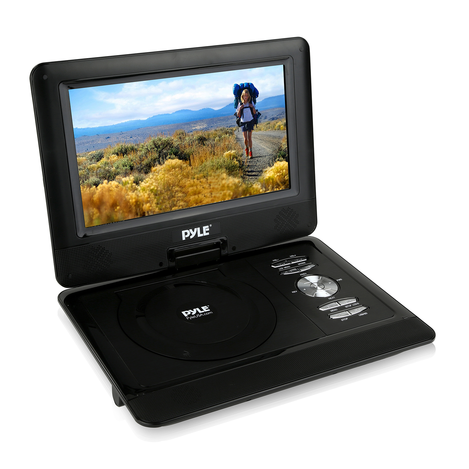 "10"" Portable CD/DVD Player, HD Widescreen Display, Built-in Battery, USB/SD Card Memory Readers"