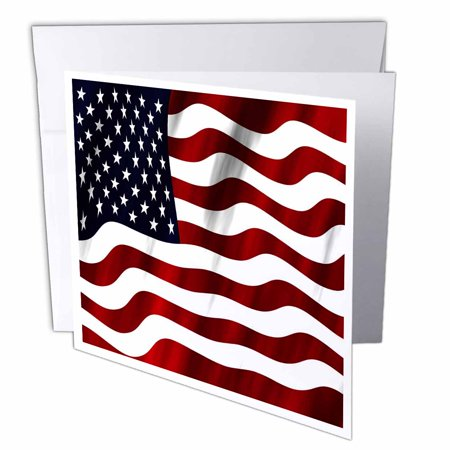 3dRose A Close Up Of A Wavy Patriotic American Flag In Red, White, and Blue, Greeting Cards, 6 x 6 inches, set of 12