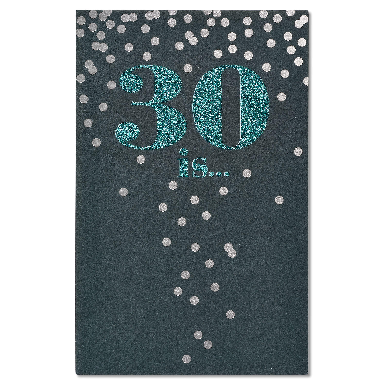 American Greetings Confetti 30th Birthday Card with Glitter