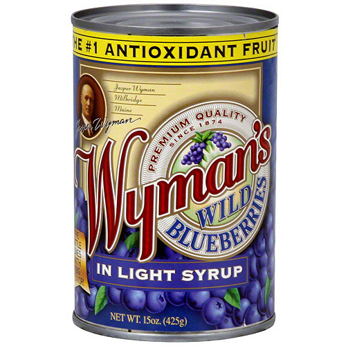 Wyman's Of Maine Wild Blueberries In Light Syrup, 15 oz (Pack of 12)