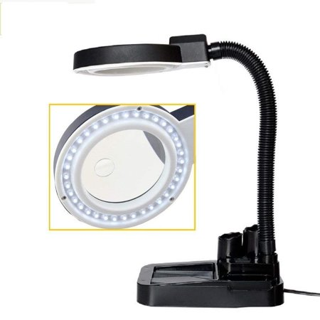 Dioche Lamp Magnifying Black With 40 LED Lights Crafts Glass Desk With 5 X 10X -