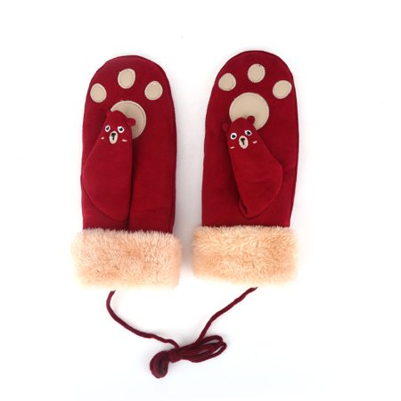 walfront women warm gloves lovely cartoon bear claw. Black Bedroom Furniture Sets. Home Design Ideas