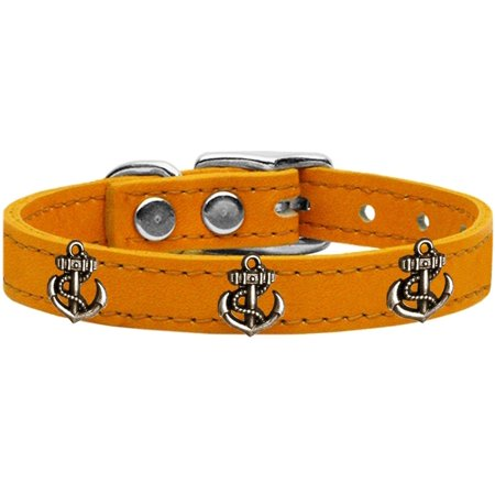Bronze Anchor Widget Genuine Leather Dog Collar Mandarin 20