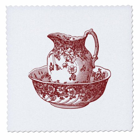 9 Inch Pitcher - 3dRose Maroon Red Antique Pitcher And Bowl - Quilt Square, 6 by 6-inch