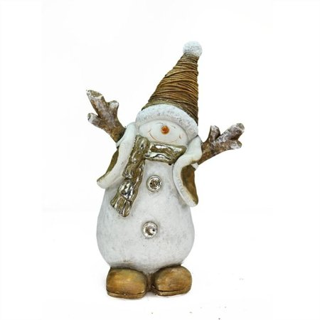 "19.5"" Whimsical Ceramic Jolly Christmas Snowman Decorative Tabletop Figure"