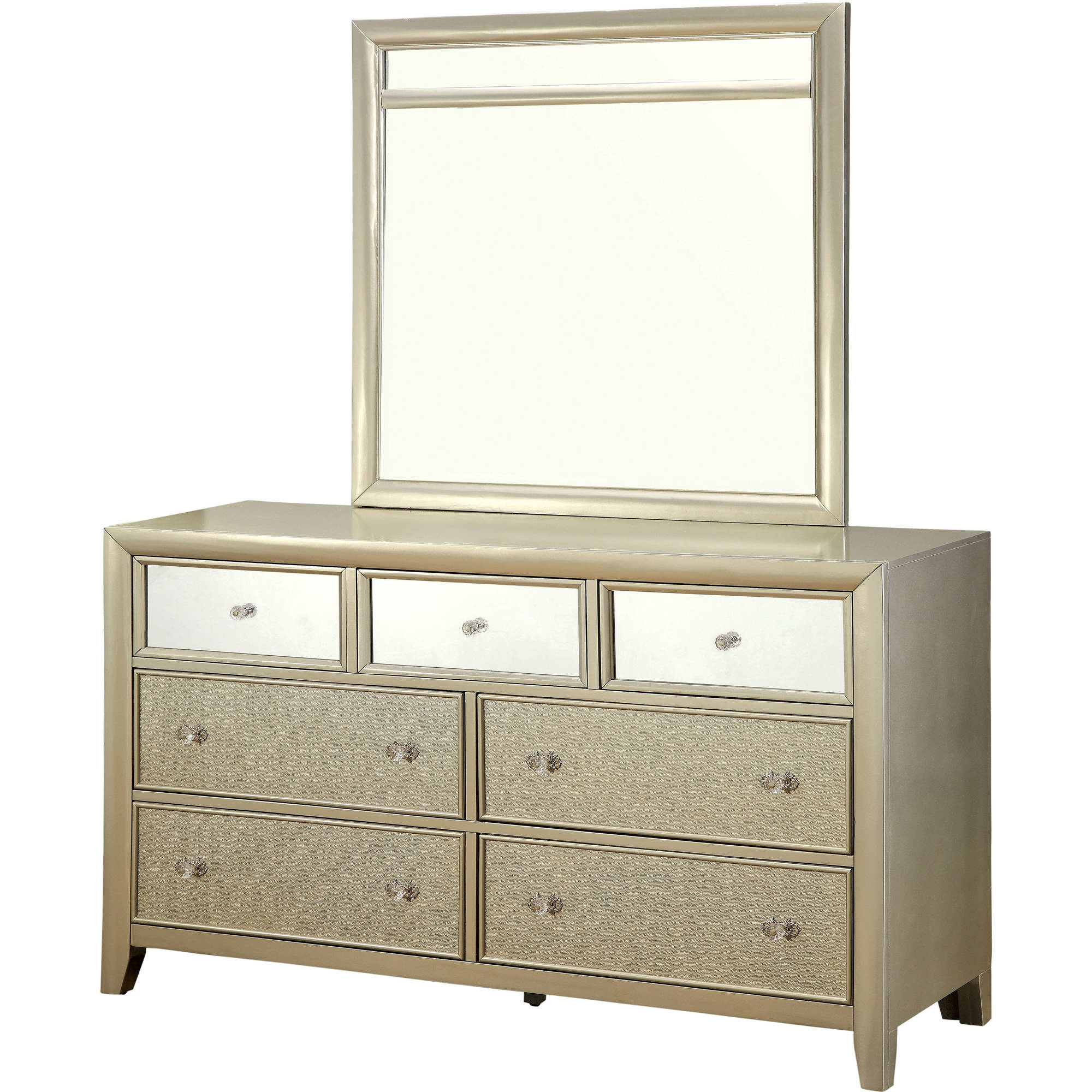 Furniture of America Mallorie Contemporary Dresser and Mirror Set, Silver