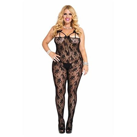 Sky Hosiery 1352-BLACK Front Bows Detail Lace Crotchless Bodystocking, Black