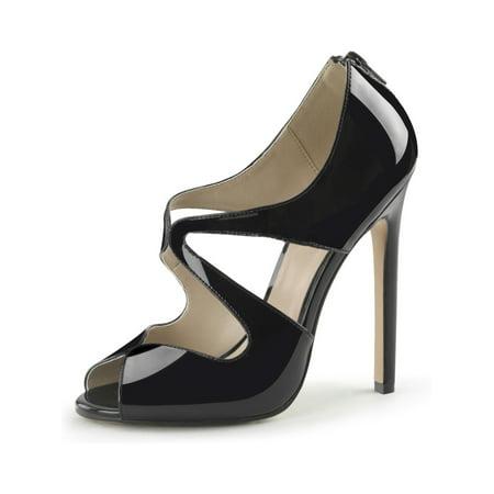 (Womens Stiletto High Heels Black Peep Toe Pump Cut Outs Sandals 5 Inch Heels Size: 6)