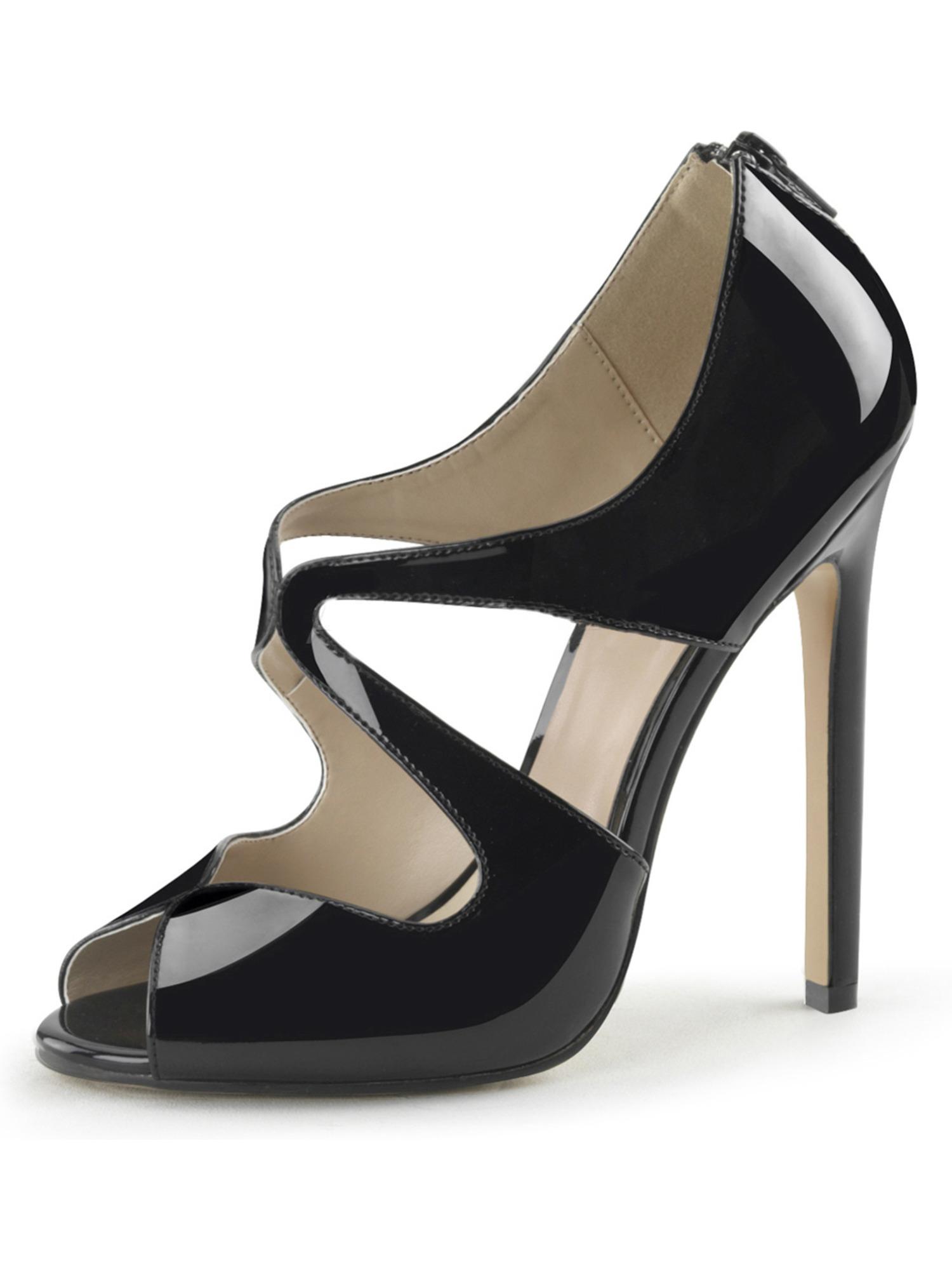Womens Stiletto High Heels Black Peep Toe Pump Cut Outs Sandals 5 Inch Heels