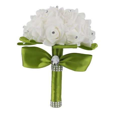 f5187bf0aa Bridal Wedding Bridesmaid Bouquet Foam Artificial Manmade Rose Flower Lawn  Green - Walmart.com