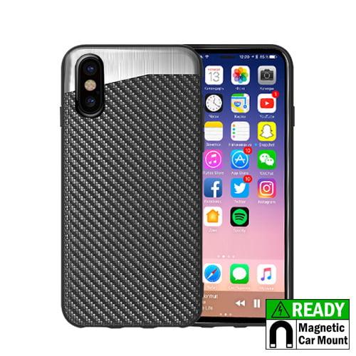 MUNDAZE Carbon Fiber Design Magnetic Ready Case For Apple iPhone X Phone