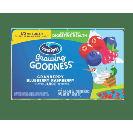 (32 Juice Boxes) GROWING GOODNESS CRANBERRY BLUEBERRY RASPBERRY Flavor Juice Beverage, Digestive Health , 32-6.75fl oz Juice Box