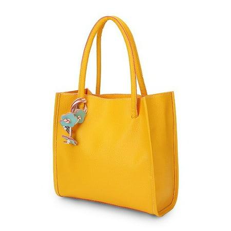 Fashion Women Leather Handbags Contrast Color Retro Casual Shoulder Shopper Bags