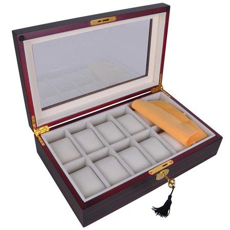 Yescom 12 Mens Wooden Wristwatch Display Case Glass Top Jewelry Collection Pocket Watch Storage Box Organizer Walmart Canada