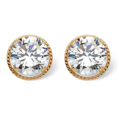 PalmBeach Glam CZ 14k Yellow Gold 4ct Round Cubic Zirconia Martini Set Stud Earrings