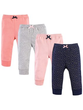 Luvable Friends Baby Girl Tapered Ankle Pants, 4-pack