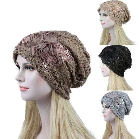 Women Elegant Floral Lace Slouchy Baggy Head Cap Beanie Cancer Hat Turban (Lace Front Weave Cap)