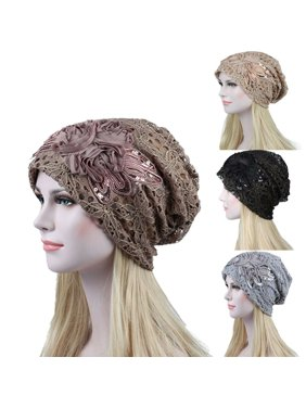 Women Elegant Floral Lace Slouchy Baggy Head Cap Beanie Cancer Hat Turban