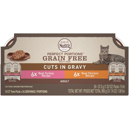 NUTRO PERFECT PORTIONS Cuts in Gravy Variety Pack Real Turkey and Chicken Wet Cat Food Trays 2.65 Ounces (12 Twin Packs)