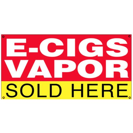 GHP 2'x4' 13 oz Vinyl VAPOR E-CIGS SOLD HERE Vinyl Banner Sign w Metal (Multi Vapor Metal)