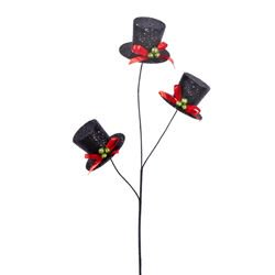 Christmas Hats With Lights (Pack of 12 Black Top Hat with Red Ribbon and Green Beads Christmas Pick)