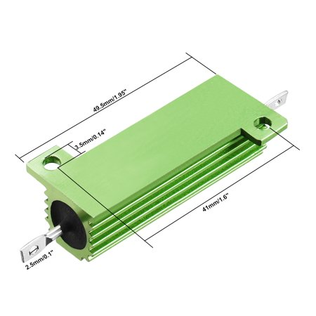 50W 750 Ohm Aluminium Housing Chassis Mount Wirewound Power Resistor Green 2pcs - image 3 of 4