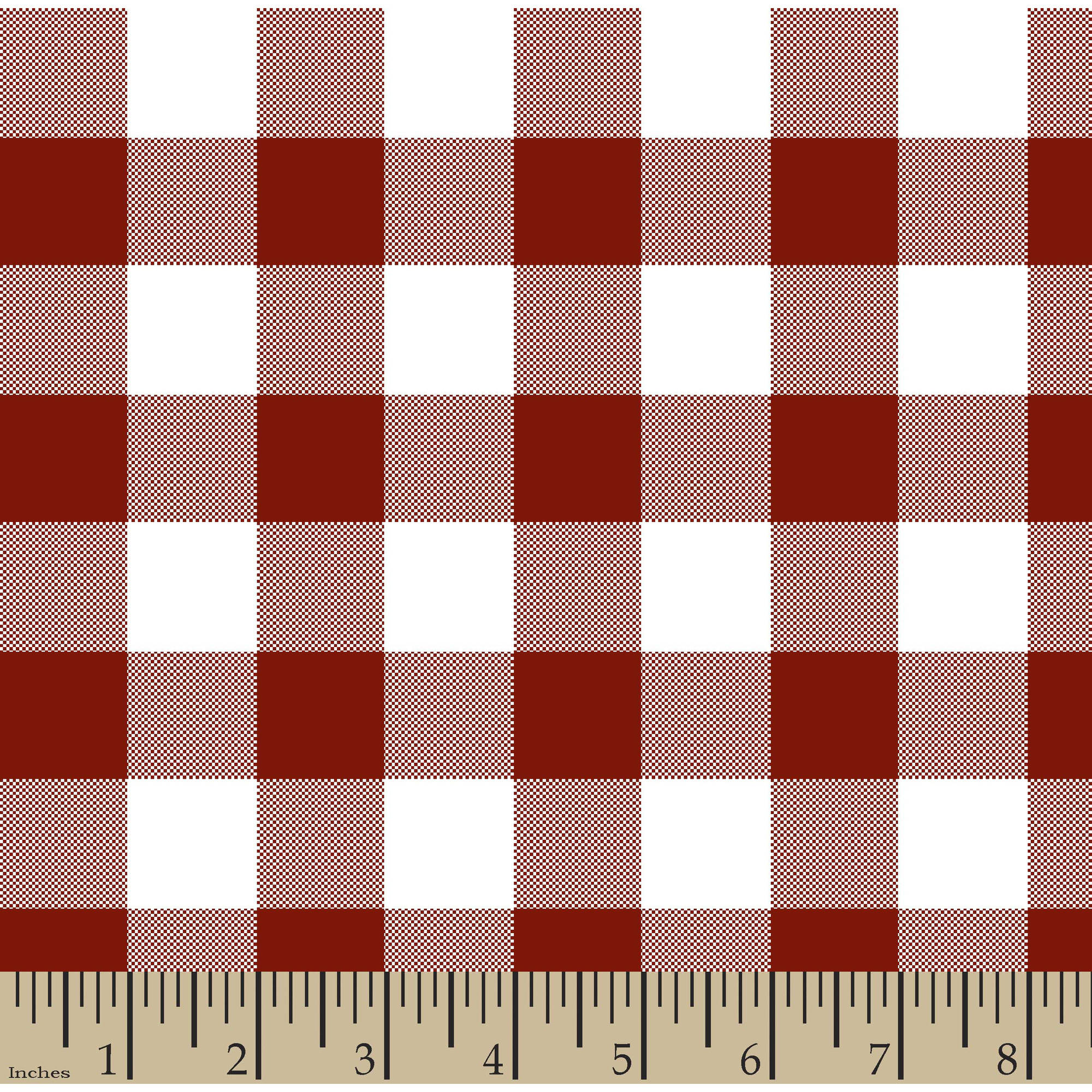 "Woven Gingham Check 1"" 65/35 Poly/Cotton Fabric by the Yard, Poppy Red, 44/45"" Width"