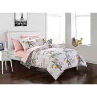 Your Zone Teen Paris Eiffel Tower Bed in a Bag Bedding Set w/ Reversible Comforter