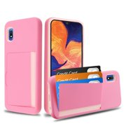 Samsung Galaxy A10E Wallet Phone Case Ultra Protective Cover with 3 Cedit Cards ID Holder Slot [Slim] Heavy Duty Shockproof Hybrid Hard PC + TPU Armor PINK Case Cover for Samsung Galaxy A10 E /A102