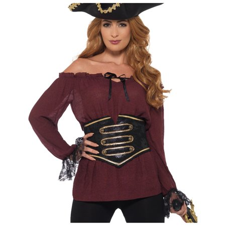 Women's Deluxe Red Pirate Lady Peasant Shirt Costume Large 14-16 (Woman Pirate Costumes)