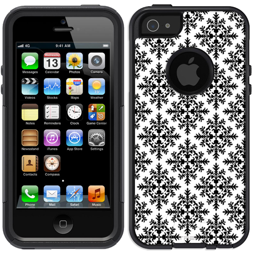 SKIN DECAL FOR OtterBox Commuter Apple iPhone SE Case - Victorian Seamless Black on White DECAL, NOT A CASE
