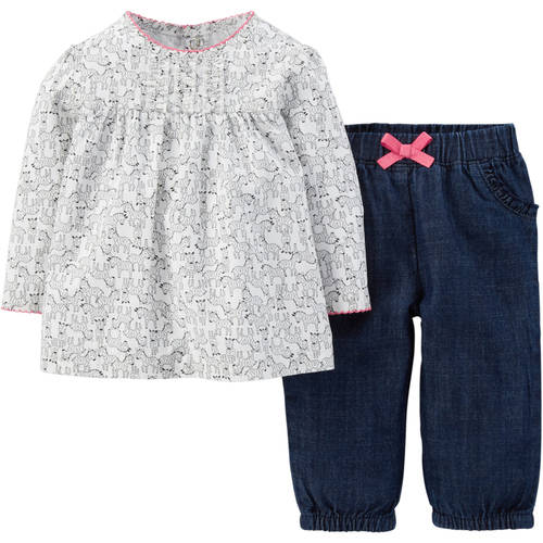 Child Of Mine by Carter's Newborn Baby Girl Shirt and Pants Outfit Set