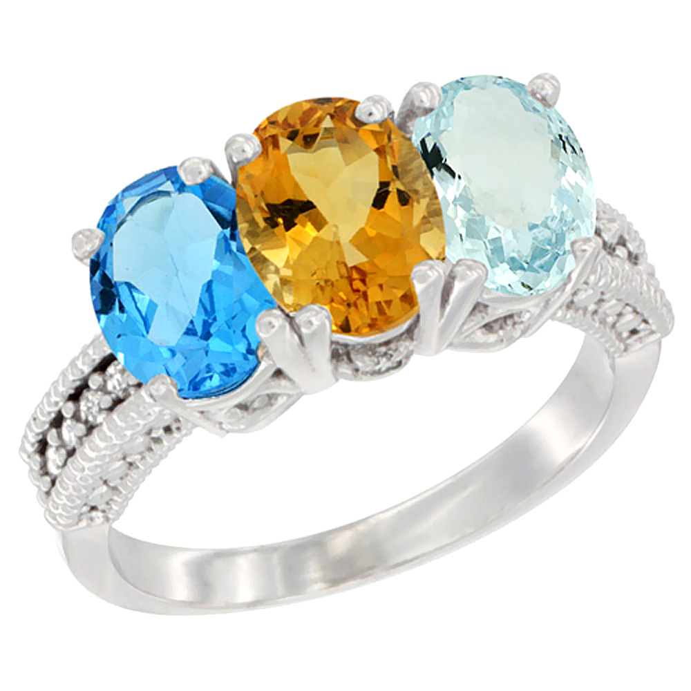 10K White Gold Natural Swiss Blue Topaz, Citrine & Aquamarine Ring 3-Stone Oval 7x5 mm Diamond Accent, sizes 5 10 by WorldJewels