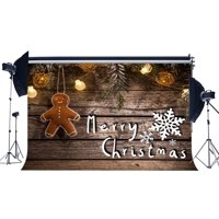 GreenDecor Polyster 7x5ft Photography Backdrop Merry Christmas String Lamps Snowflakes Vintage Wood Floor Xmas Backdrops for Baby Adults Happy New Year Background Photo Studio Props