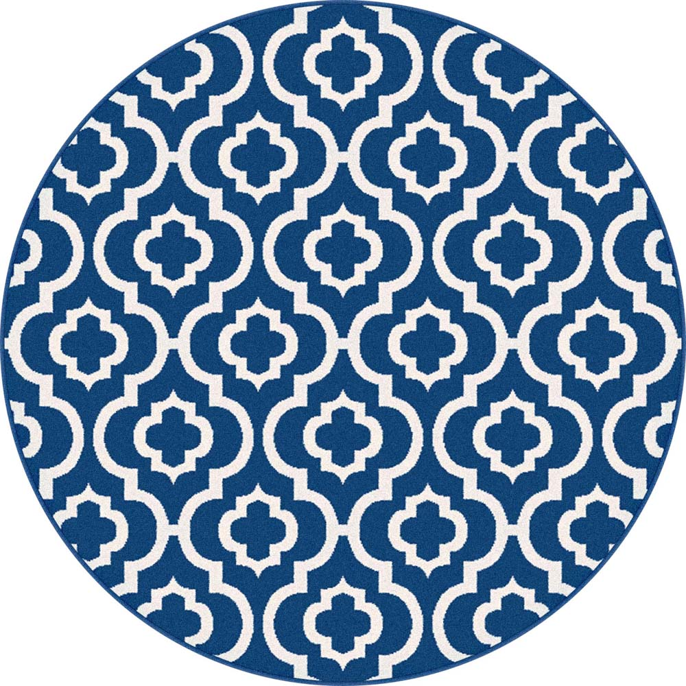 Tayse Metro Area Rugs - 1027 NAVY Contemporary Navy Diamond Patterned Symmetrical Moroccan Rug