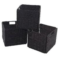 "GHP 3-Pcs 11""x10""x9"" Steel & Corn Husk Wrapped Edges Foldable Storage Boxes w Handles"