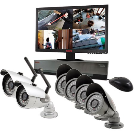 Revo America 8-Channel 1TB DVR Surveillance System with 2 Wireless Bullet Cameras, 4 Wired Bullet Cameras and 21.5